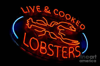Live And Cooked Lobsters Old Neon Light Store Sign Print by Olivier Le Queinec