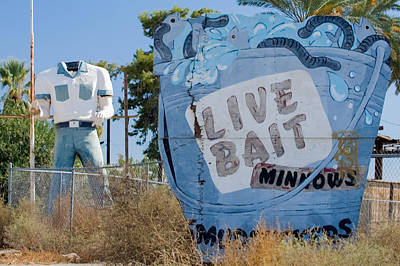 Boot Photograph - Live Bait Sign And Muffler Man Statue by Scott Campbell