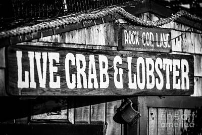 Live Crab And Lobster Sign On Dory Fish Market Print by Paul Velgos