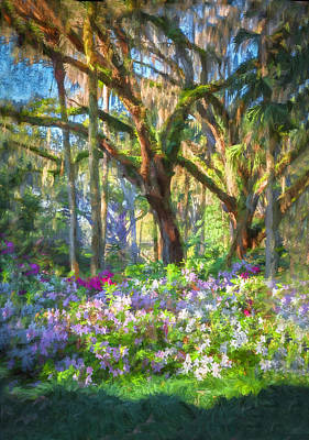 Live Oaks And Azaleas Painted  Print by Rich Franco