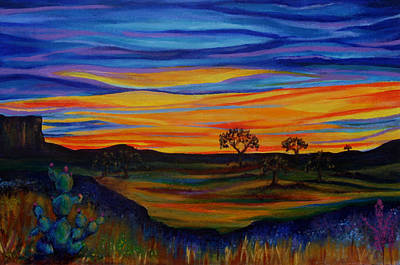 Live Oaks At Dusk Print by Kathy Peltomaa Lewis