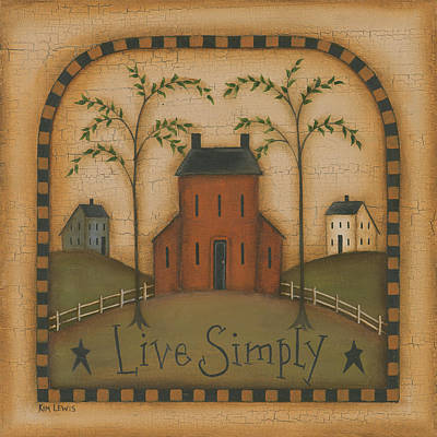 Inspirational Painting - Live Simply by Kim Lewis
