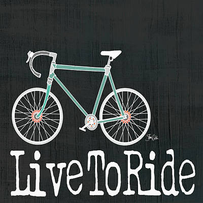 Live To Ride On Black Print by Shanni Welsh