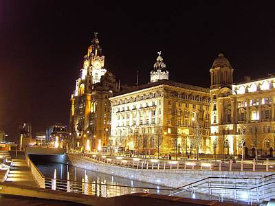 Scouse Photograph - Liver Building And Canal Liverpool Uk by Steve Kearns