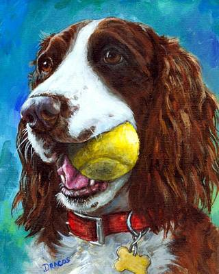 Liver English Springer Spaniel With Tennis Ball Print by Dottie Dracos