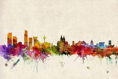 England Digital Art - Liverpool England Skyline by Michael Tompsett