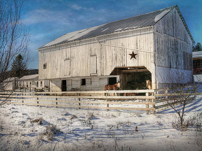 Snowy Digital Art - Liverpool Horse Barn by Lori Deiter