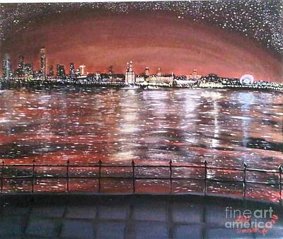 Liverpool Painting - Liverpool Skyline by Fiona Glass W