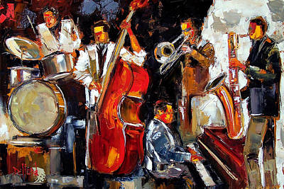 Trombone Painting - Living Jazz by Debra Hurd