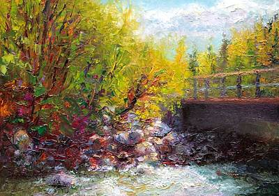 Impressionistic Landscape Painting - Living Water - Bridge Over Little Su River by Talya Johnson