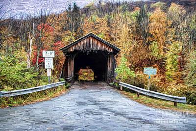 Covered Bridge Painting - Livingston Manor Covered Bridge by Deborah Benoit