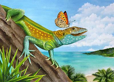 Lizard Landing Print by Carolyn Steele