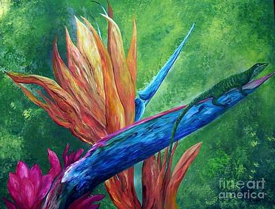 Leaves Painting - Lizard On Bird Of Paradise by Eloise Schneider