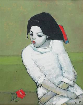 Stylized Photograph - Lizzie In White Oil On Board by Endre Roder