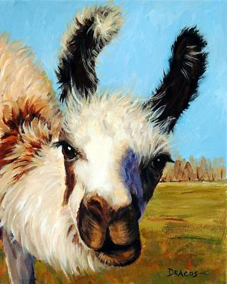 Llama Painting - Llama In Afternoon Sunlight by Dottie Dracos