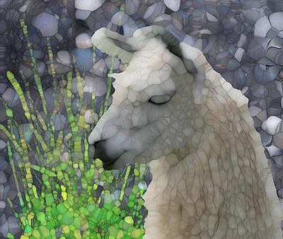 Merging Digital Art - Llama by Jack Zulli