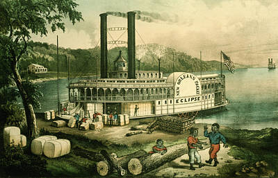 Steamboat Photograph - Loading Cotton On The Mississippi, 1870 Colour Litho by N. Currier