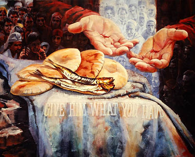 Religious Painting - Loaves And Fishes by Graham Braddock