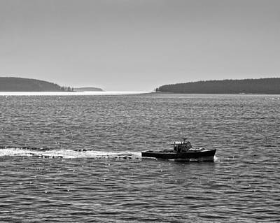 Lobster Boat And Islands Off Acadia National Park In Maine Print by Keith Webber Jr