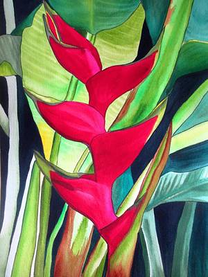 Heliconia Painting - Lobster Claw Heliconia by Sacha Grossel