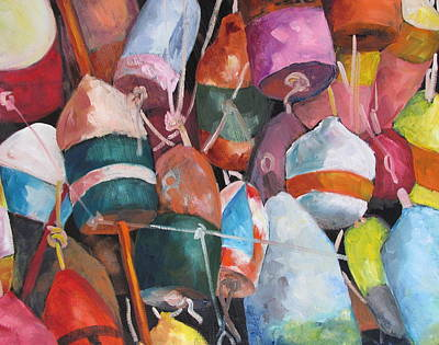 Susan L Richardson Art Painting - Lobster Trap Buoys by Susan Richardson