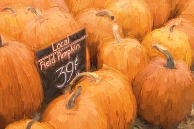 Farm Stand Photograph - Local Field Pumpkins Painterly Effect by Carol Leigh