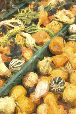 Farm Stand Photograph - Local Glazed Gourds Painterly Effect by Carol Leigh