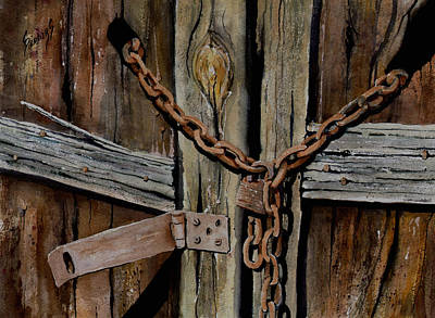 Cracks Painting - Locked Doors by Sam Sidders
