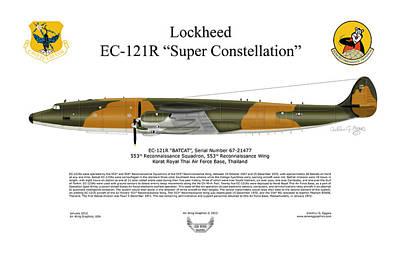 Aircraft Artwork Digital Art - Lockheed Ec-121r 553rs Korat Rtafb by Arthur Eggers
