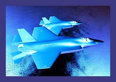 Lockheed Martin F 35 Strike Fighters Night Mission Small Border Print by L Brown