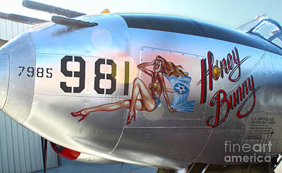 Lockheed P-38l Lightning Honey Bunny Nose Art - 05 Print by Gregory Dyer