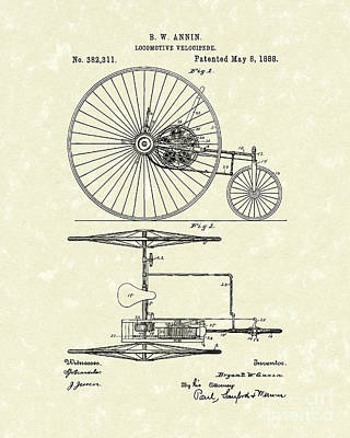Tricycle Drawing - Locomotive Velocipede 1888 Patent Art by Prior Art Design