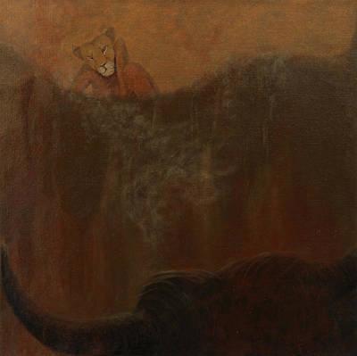 Loewin Und Stier II_lioness And Bull II Original by Gabriele Frey