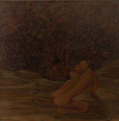 Loewin Und Stier I_lioness And Bull I Original by Gabriele Frey
