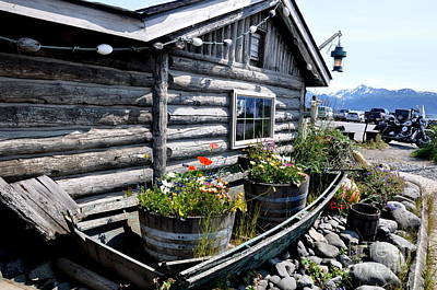 Fishing Photograph - Log Cabin And Old Boat In Homer Alaska by Tanya  Searcy