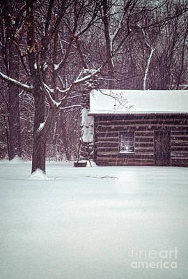 Log Cabin In Snow Print by Jill Battaglia