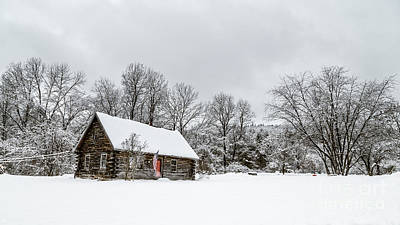 Log Cabin In The Snow Print by Edward Fielding