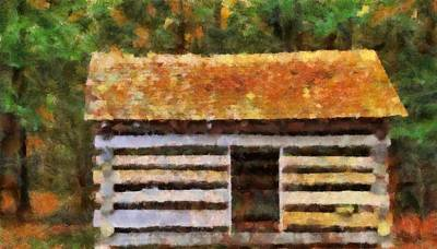 Old Cabins Painting - Log Cabin In The Woods by Dan Sproul