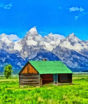 Yellowstone Mixed Media - Log Cabin In Wyoming by Dan Sproul
