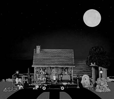 Log Cabin Scene With Old Vintage Classic 1938 Mercedes Benz 770k Pullman Convertible In B/w Print by Leslie Crotty