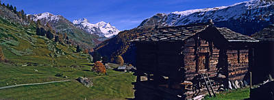 Log Cabins On A Landscape, Matterhorn Print by Panoramic Images