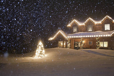 Christmas Lights Photograph - Log Home Decorated With Christmas by Jeff Schultz