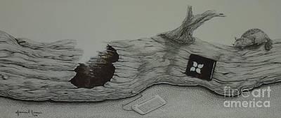 Marsupial Drawing - Log Window by Grant Mansel-James