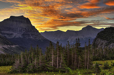 Logan Pass Sunrise Print by Mark Kiver