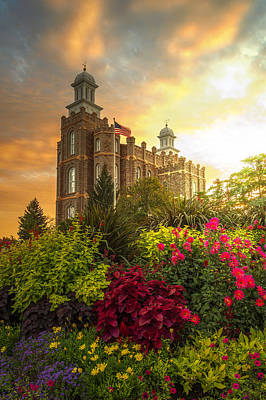 Utah Photograph - Logan Temple Garden by Dustin  LeFevre