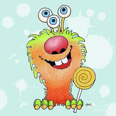 Lolli Pop Monster Print by Annie Troe