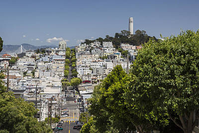 Lombard Street And Coit Tower On Telegraph Hill Print by Adam Romanowicz