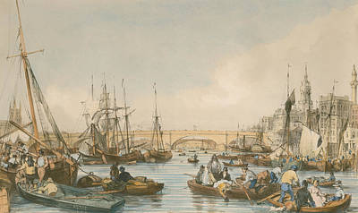 London Bridge From The Pool Print by William Parrot