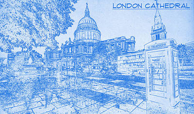 Drawing Digital Art - London Cathedral  - Blueprint Drawing by MotionAge Designs