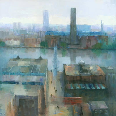 Rooftops Painting - London Cityscape by Steve Mitchell
